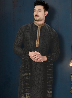 Art Dupion Silk Embroidered Kurta Pyjama in Black
