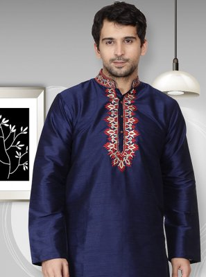 Art Dupion Silk Embroidered Navy Blue Kurta