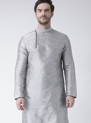 Art Dupion Silk Grey Kurta Pyjama