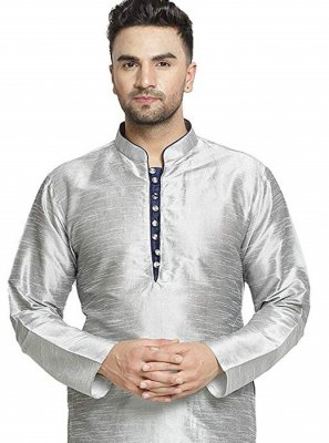 Art Dupion Silk Kurta in Grey