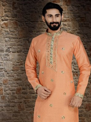 Art Dupion Silk Peach Thread Kurta Pyjama