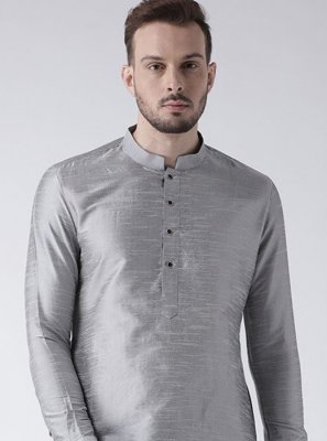 Art Dupion Silk Plain Kurta in Grey
