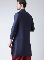 Art Dupion Silk Plain Kurta in Navy Blue