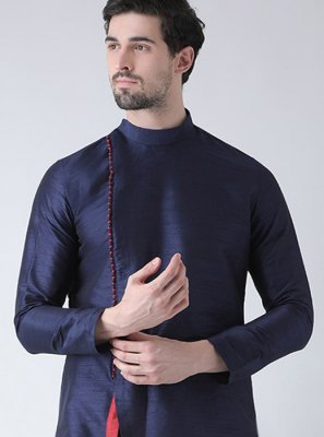 Art Dupion Silk Plain Kurta in Navy Blue