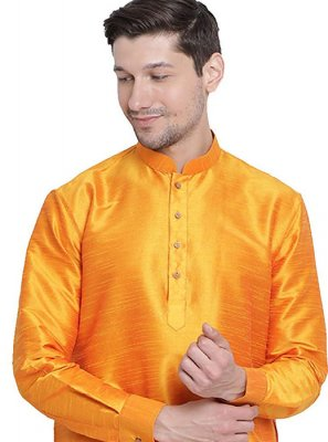 Art Dupion Silk Plain Orange Kurta