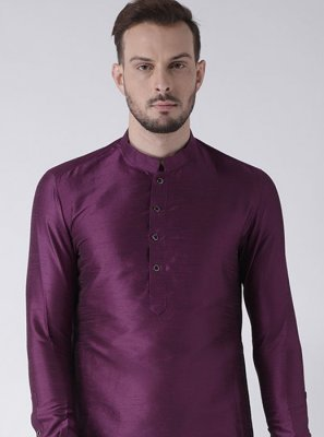 Art Dupion Silk Plain Purple Kurta
