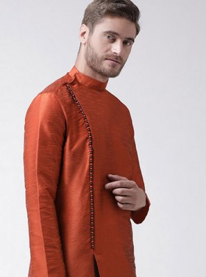 Art Dupion Silk Plain Rust Kurta