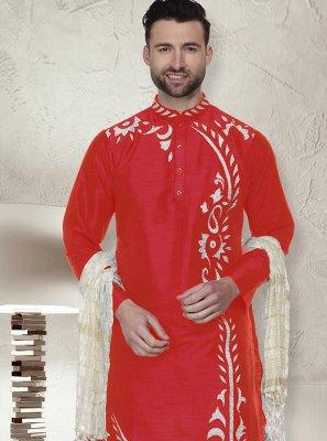 Art Dupion Silk Red Kurta Pyjama
