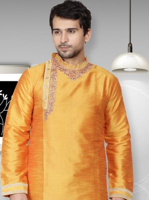 Art Dupion Silk Yellow Kurta