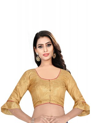 Art Raw Silk Brown Plain Designer Blouse
