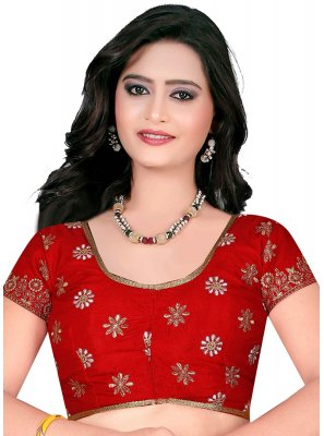 Art Raw Silk Embroidered Designer Blouse in Red