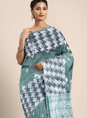 Art Raw Silk Green Printed Saree