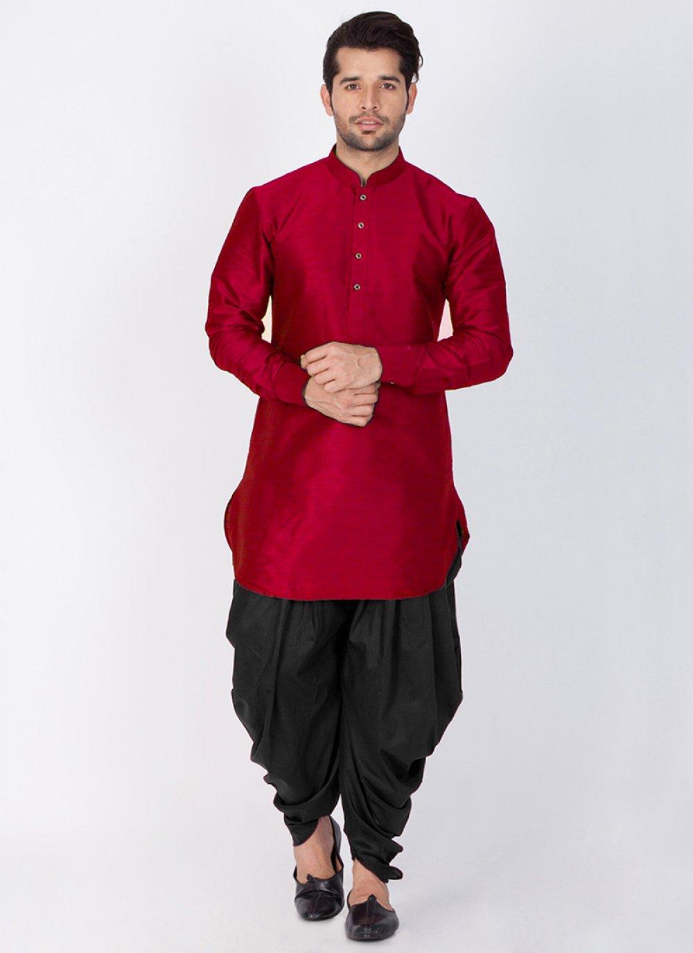 Art Raw Silk Maroon Plain Dhoti Kurta