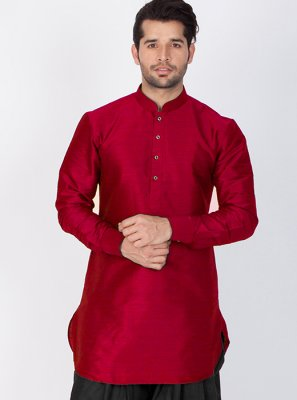 Art Raw Silk Maroon Plain Dhoti Kurta