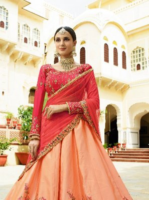 Art Raw Silk Peach Designer Lehenga Choli