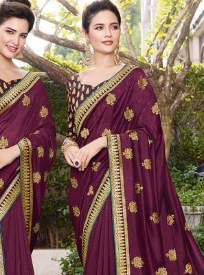 Art Silk Aari Designer Saree in Wine