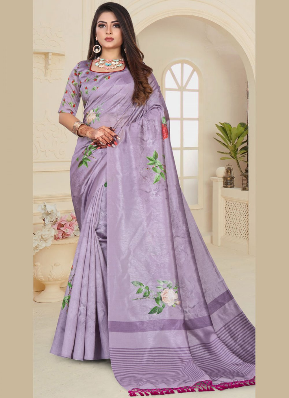 Art Silk Abstract Print Printed Saree in Purple