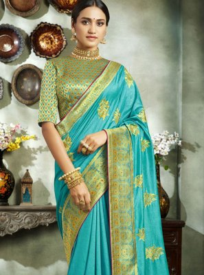 Art Silk Aqua Blue Designer Saree
