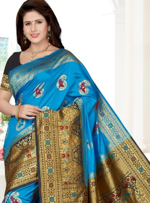 Art Silk Aqua Blue Weaving Trendy Saree