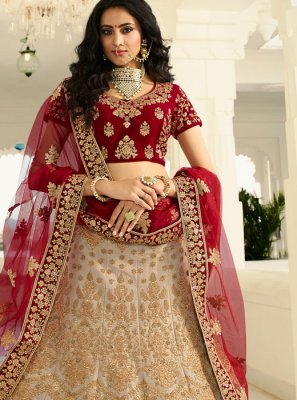 Art Silk Beige and Red Resham Lehenga Choli