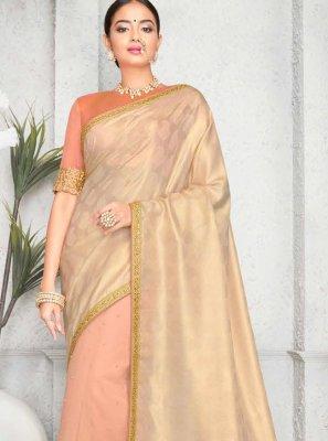 Art Silk Beige Classic Saree