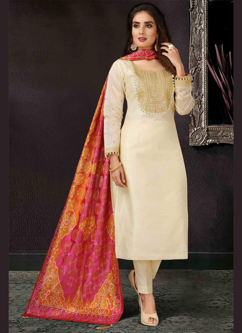 Art Silk Beige Pant Style Suit