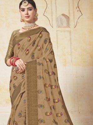 Art Silk Beige Weaving Saree