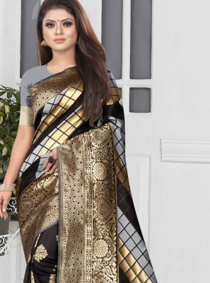 Art Silk Black and Silver Weaving Half N Half Trendy Saree