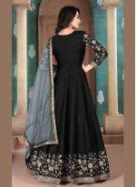 Art Silk Black Embroidered Anarkali Suit