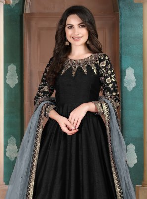 Art Silk Black Embroidered Anarkali Suit