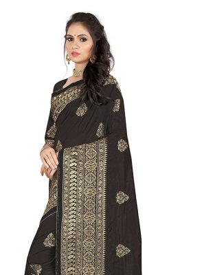 Art Silk Black Embroidered Silk Saree