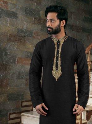 Art Silk Black Kurta Pyjama