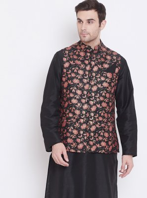 Art Silk Black Plain Kurta Payjama With Jacket