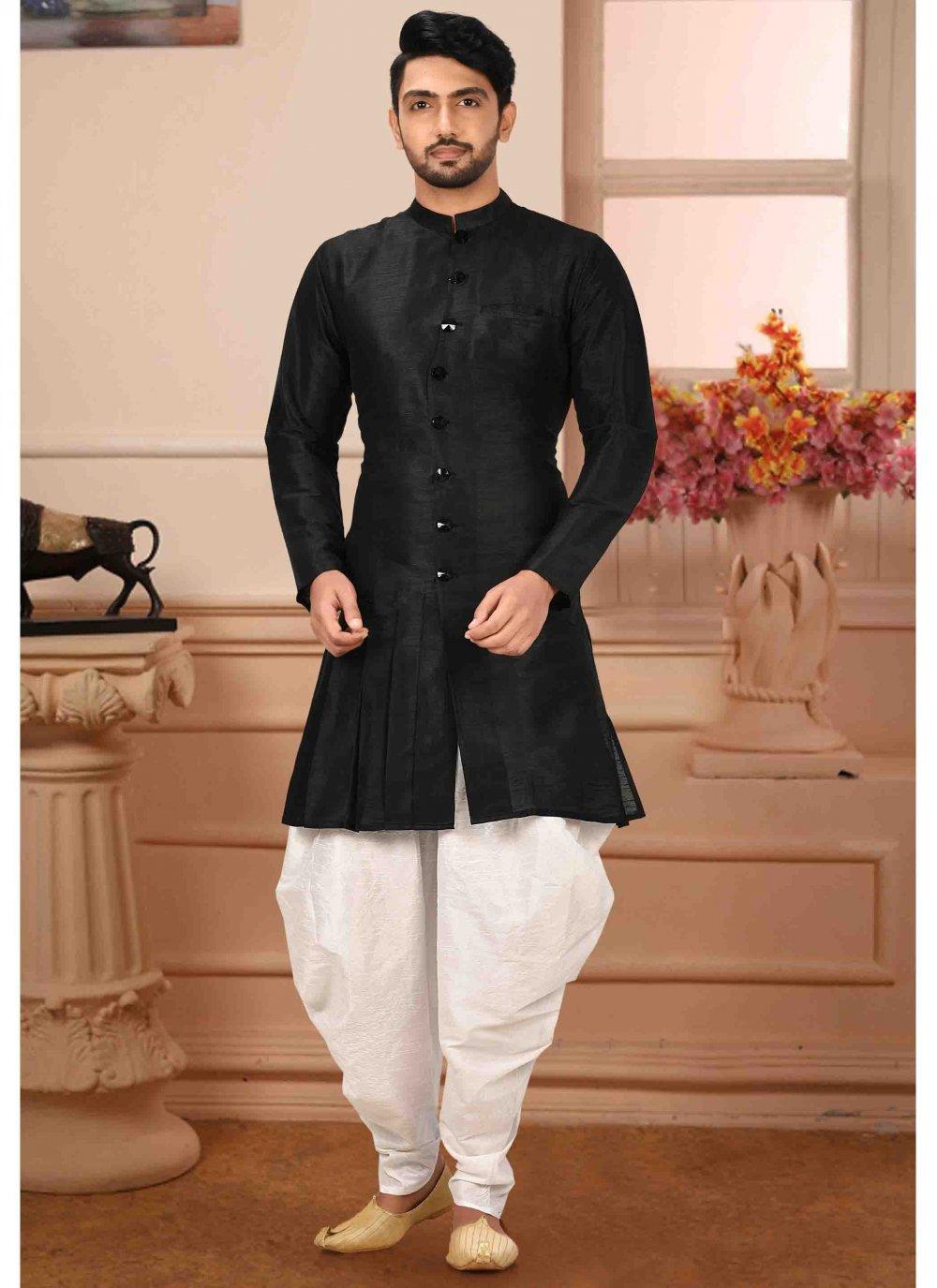 Art Silk Black Plain Kurta Pyjama