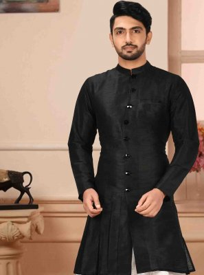 Art Silk Black Plain Kurta Pyjama