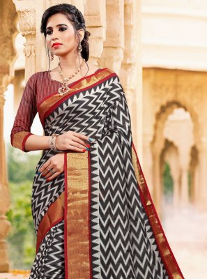 Art Silk Black Printed Casual Saree