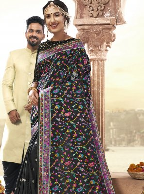 Art Silk Black Printed Saree
