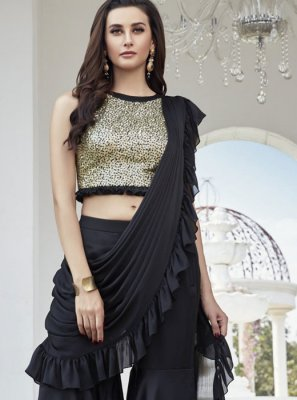 Art Silk Black Readymade Suit