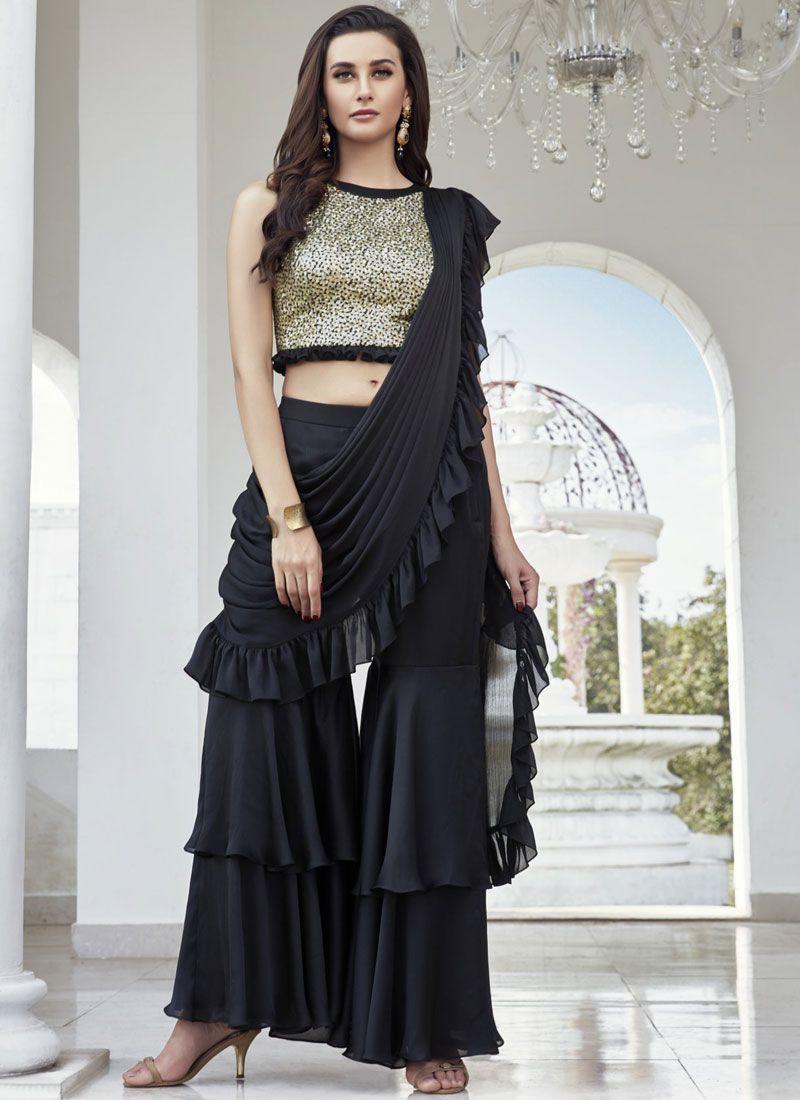 Art Silk Black Readymade Suit