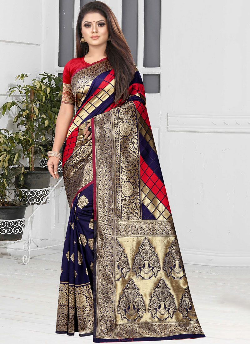 Art Silk Blue and Red Half N Half  Saree