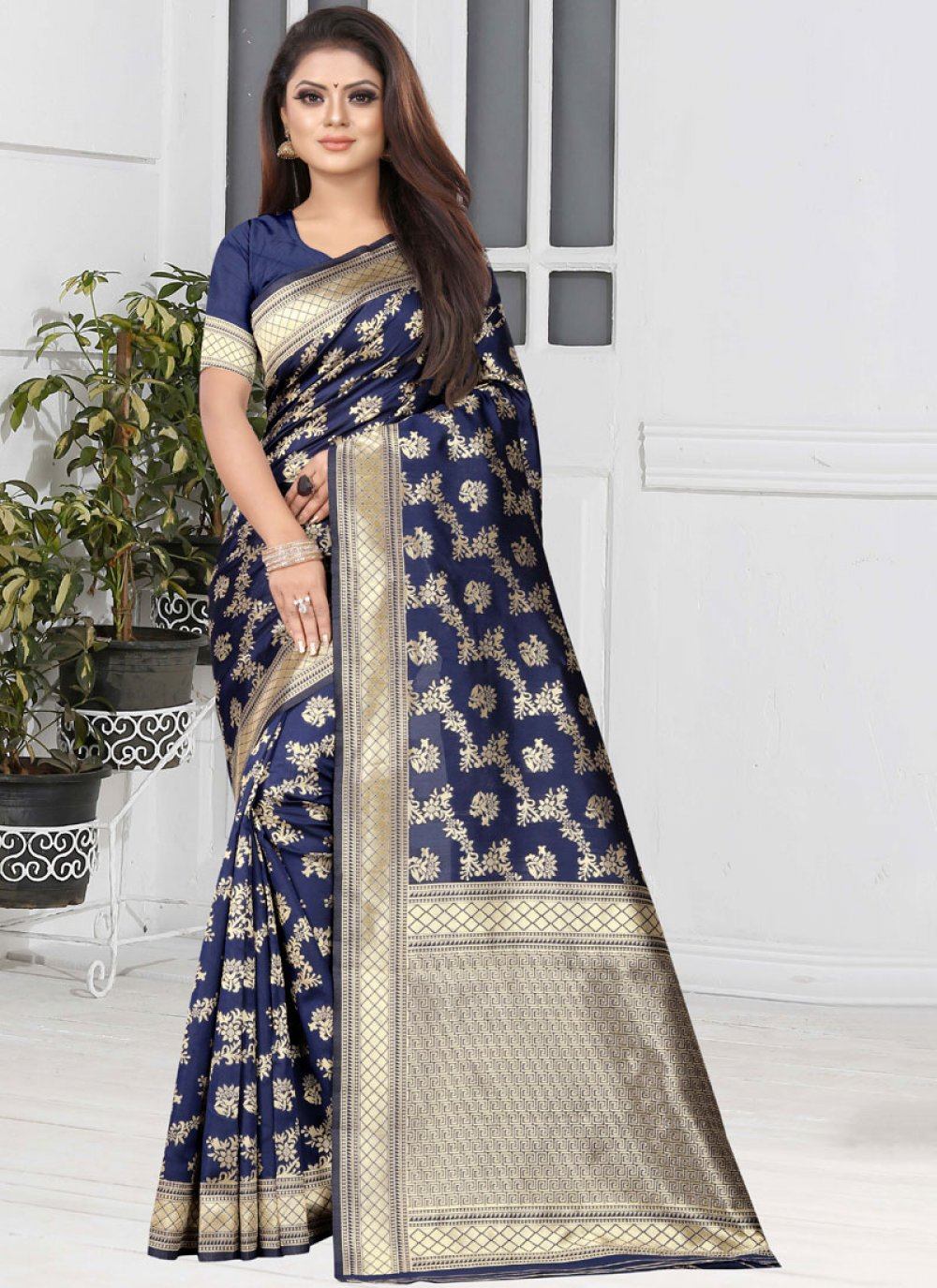 Art Silk Blue Casual Saree