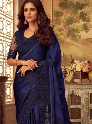 Art Silk Blue Embroidered Designer Saree