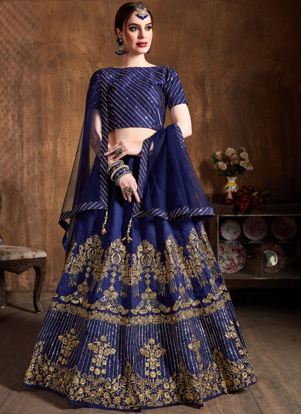 Art Silk Blue Embroidered Lehenga Choli