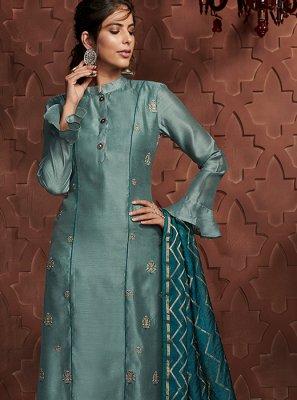 Art Silk Blue Embroidered Readymade Salwar Kameez