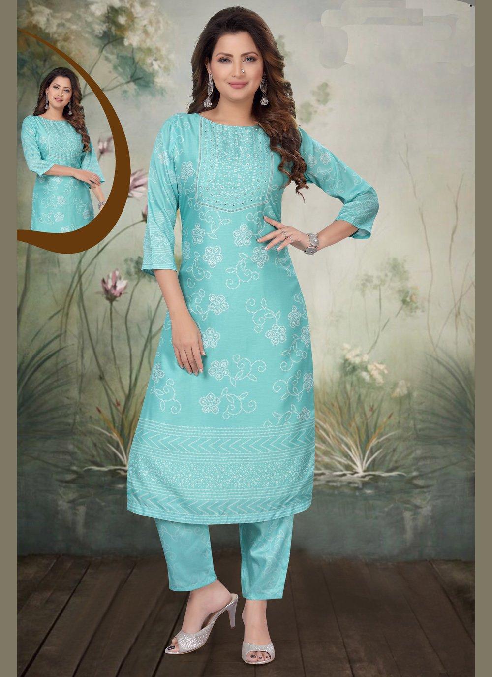 Art Silk Blue Embroidered Trendy Salwar Suit