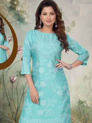 Art Silk Blue Embroidered Trendy Salwar Suit