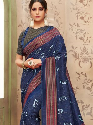 Art Silk Blue Print Traditional Saree