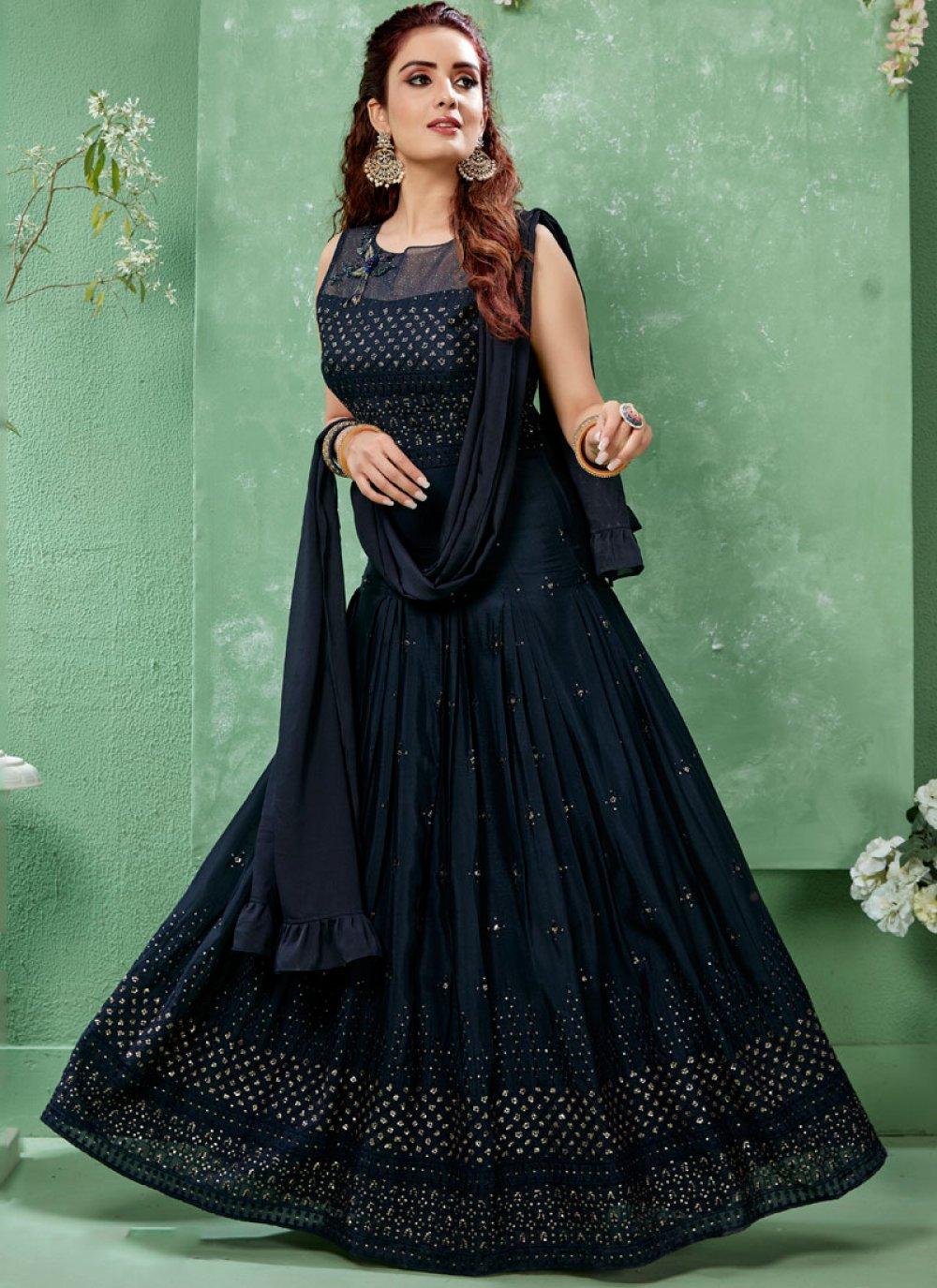Art Silk Blue Stone Work Salwar Suit