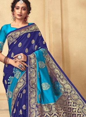 Art Silk Blue Weaving Designer Traditional Saree
