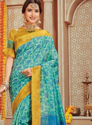 Art Silk Blue Woven Traditional Saree